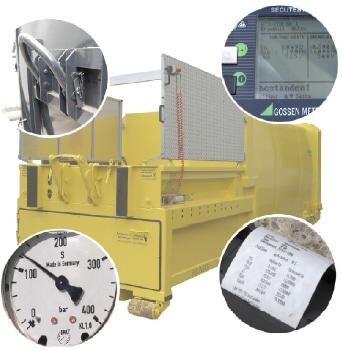 UVV-Prüfung von Müllpressen gemäß BetrSichV und Vorschriften der Berufsgenossenschaften.